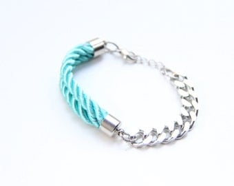 arm party - Silver chunky chain and turquoise Silk Bracelet