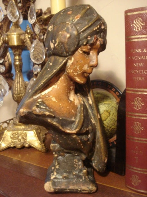 Vintage Chalkware Lady Bust Statue Exotic French By