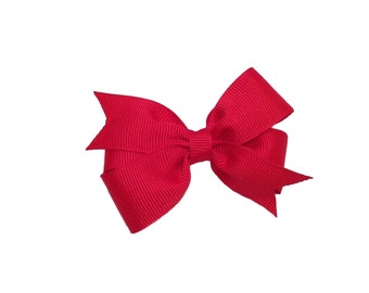 Red hair bow - red bow, small bow, 3 inch red bow, toddler bows, girls hair bows, girls bows, red hair bows, pinwheel bows