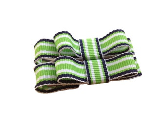 Lime & navy striped baby bows - tuxedo bows, toddler bows, hair bows, baby bows, girls bows, hair clips, baby clips