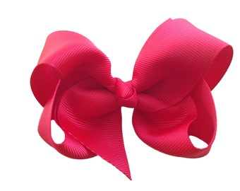 Red boutique bow with knotted center - red hair bow, 4 inch bow, toddler bow, boutique bows, girls hair bows, girls bows, hair clips