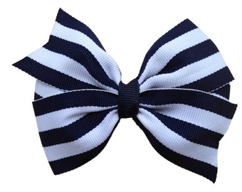 Navy blue striped hair bow - 4 inch bow, navy hair bow, girls hair bow, girls bows, boutique bows, navy blue bows