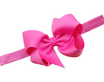 You pick color - headband with matching 4 inch boutique bow - baby headband, newborn headband, baby girl headband, bow headband