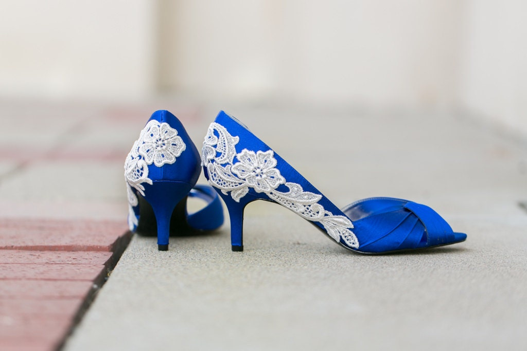 Wedding Shoes Royal Blue Wedding Heels Blue Bridal by walkinonair