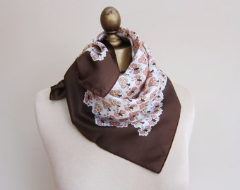 FRENCH  silk scarf, butterfly scarf, vintage silk scarf,  square silk neckerchief, hair wrap
