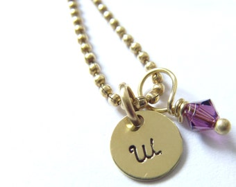 Initial Necklace, Handstamped Jewelry, Small, w/ Birthstone, Hand Stamped Necklace, Brass, Personalized Necklace