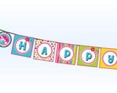 Horse Birthday Banner, Unicorn Happy Birthday Party Banner, Rainbow Birthday Banner, PRINTABLE Pony Girl Theme Stripe Polka Dot Magic Flower