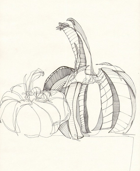 Line Art Etsy : Items similar to pumpkin contour line drawing on etsy