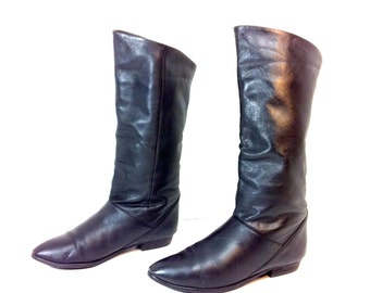 80s Leather Riding Boots 7 - Tall Black Boots 7 - Biker Boots Black Leather 7