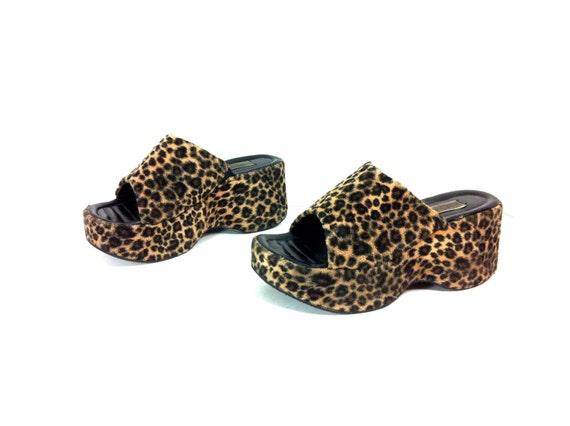 90s Leopard Print Platform Mules 8 / Chunky Slip On Animal Print Clog Sandals 8