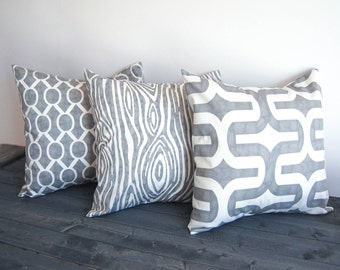 Gray throw pillow covers set of three cushion covers storm gray throw modern pillow shams