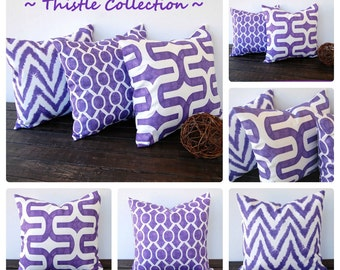 "Purple pillow cover 16"" x 16"" One cushion cover Thistle grape purple pillow sham home decor accent"
