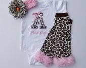 Baby Girl Clothes Personalized Bodysuit Or Gown Cheetah and Pink Monogram Headband Leg Warmers Options Newborn Take Home Outfit