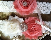 SALE-Wedding Garter - Garters - Toss Garter - Ivory Lace Garter Set - Bridal Garters - Vintage - Coral -  Wedding - Rhinestone