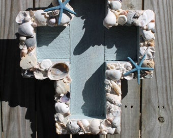 Shadowbox Seashell Cross/Beach House Decor/Coastal Decor