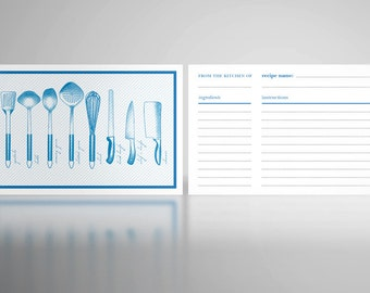 Custom Color Recipe Cards - Great for Mom, Grandmother, Exchange, Bridal Showers, Bride, Housewarming, Holiday, Birthday Gift or Favor