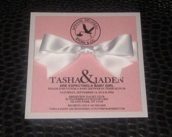 Stork and Co. Pink Baby Shower Invitation
