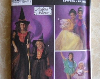 Vintage Halloween Costume Pattern - Simplicity 8647 Size BB 8-12 1993 Witch Princess Dancer Fairy
