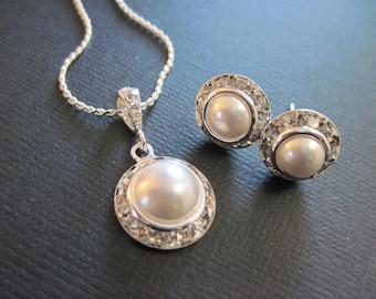 Small Swarovski Crystal Pearl Bridesmaid Jewelry Set/ Flower Girl / Bridesmaid Jewelry/ Wedding Jewelry/Junior Bridesmaid