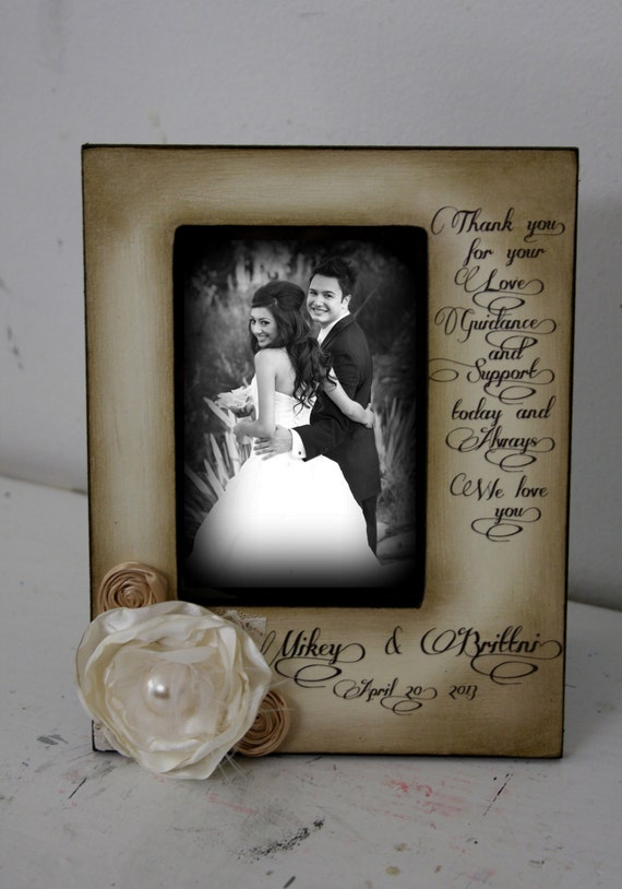 Wedding  Distressed Vintage Picture 4x6 Thank you Parent Photo Frame - Personalized Gift - Keepsake Custom Personalize