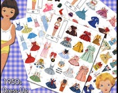 1950s Dress Up Dolls Digital Paper Doll - Printable Vintage Betsy McCall Dolls and Lots of 1950s Style Clothes for the Dollies