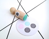 Dotted dot circle Mini Stamp with mint rubber