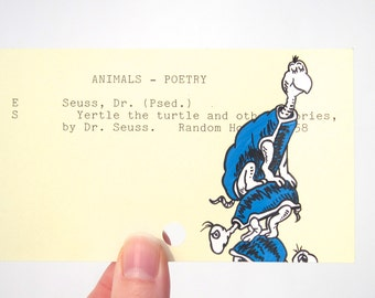 Yertle the Turtle - Print of my painting on library card catalog card