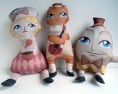 Nursery Rhyme Pillow Set, Plush Dolls, Nursery Decor, Mother Goose -- Safe for All Ages