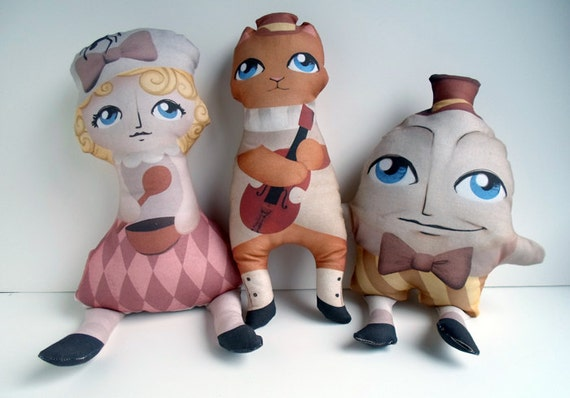 Plush Doll Set Nursery Rhyme, Pillow, Toy, Nursery Decor -- Safe for All Ages