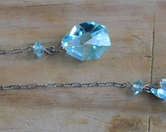 Amazing silver art deco flapper necklace with aquamarine blue cut czech glass crystal drops / wedding bridal something blue