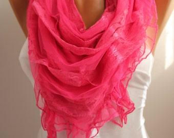 NEW- Love Pink Fushia Scarf  Shawl- DIDUCI