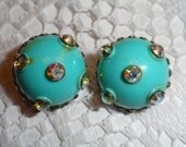 Rare Vintage 50s Aqua Lucite Round Earrings with Iridescent Rhinestones Clip Style