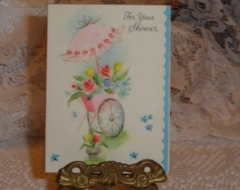 Vintage 1950s Miniature Unused Wedding Shower Greeting Card, with Raised Pink Umbrella and Turquoise Edging