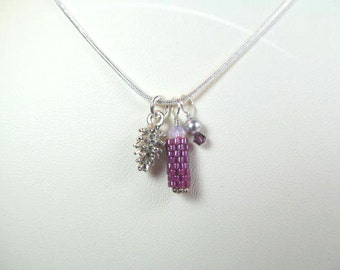 Necklace pinecone charm, beaded bead with a crystal and faux pearl