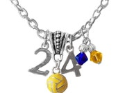 Personalized, Water Polo Necklace,Team Color, Swarovski Necklace, Cap Number Charm Necklace,Mom Necklace,Water Polo Jewelry, (Made to Order)