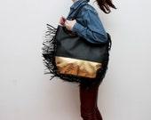 FALCON/ Large leather fringe bag in black & gold