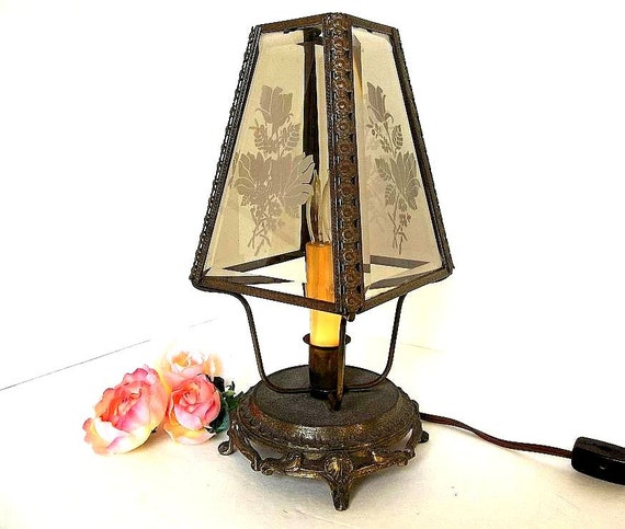 Etched Metal Lamp Shade: Vintage Loevsky Loevsky L&L Lamp Beveled Etched Glass Shade