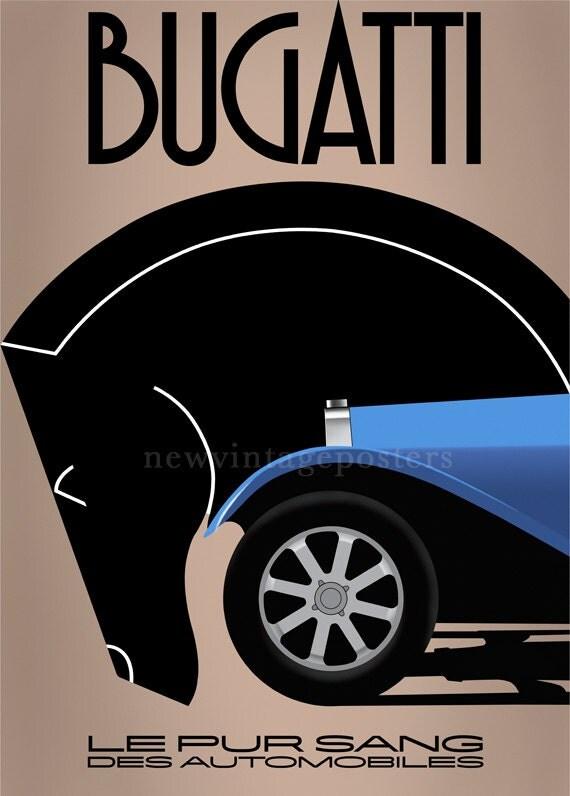 art deco bugatti poster giclee print. Black Bedroom Furniture Sets. Home Design Ideas