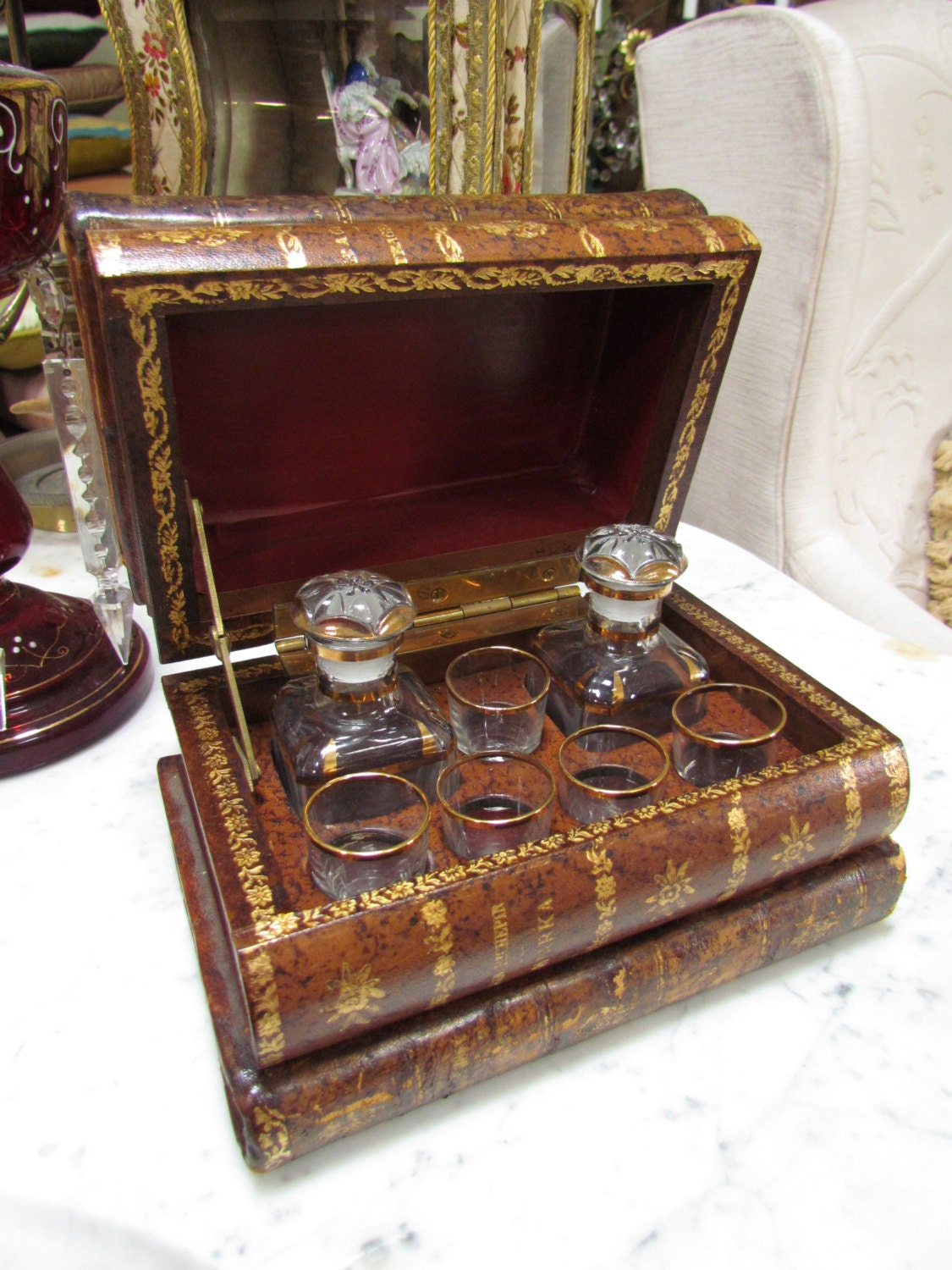 Antique French Leather Book Stack Tantalus Liqueur Set
