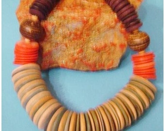 Wood  Beaded Tribal Necklace