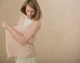 Light pink Cardigan Bamboo Summer fashion,knit Jacket ,women sweater blouse