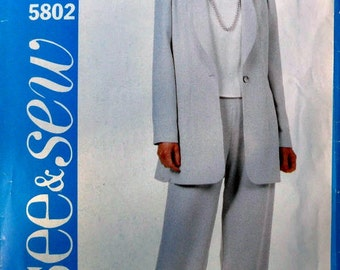 Misses Long Jacket and Pants Butterick See and Sew 5802 Size 18 20 22 Plus Size