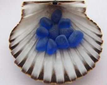 Genuine Blue Beach Glass, Tiny Sea Glass Jewelry Supply Beads - 10 Gems Art Craft Supply