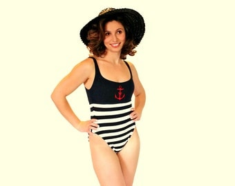 Vintage Twee Swimsuit. 80s  One Piece Swimsuit  by La Blanca. Black White Stripes. Red Anchor Embroidery. Small. French Cut Hips. Beach