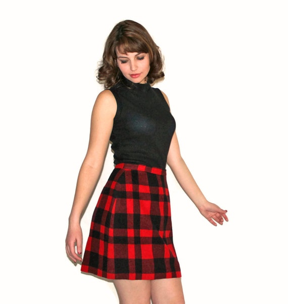 Vintage Wool Skirt. Red Black Skirt. Cashmere Skirt. Back To