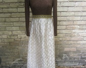 Brown and quilted gold full length 1960's dress  grooving meet the boss wife dress size small petite