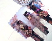 3 Mini Black Clips Vintage Art Deco Fabric, Pink Feathers, Frills, And Purple Gems