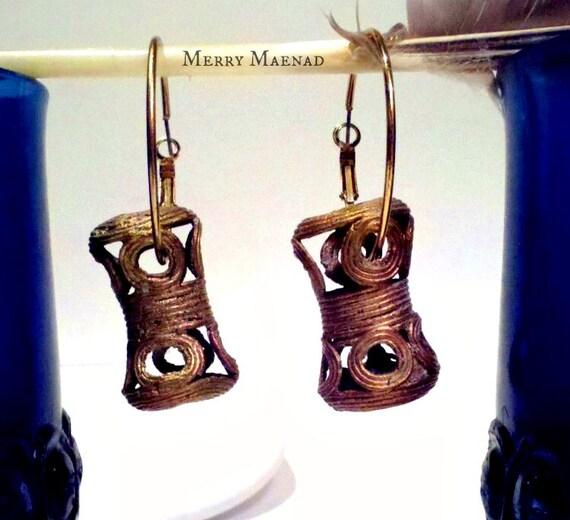 Statement Hoop Earrings with Handmade Bronze from Ghana. Tribal Earrings. Women's Ethnic Jewelry