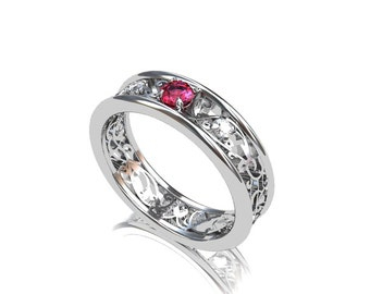 Pink spinel ring, white gold, diamond ring, filigree engagement, spinel engagement, pink ring, wedding ring