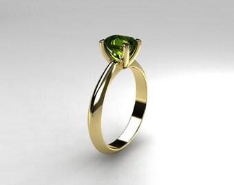 Peridot ring, Yellow gold, emerald cut, engagement ring, green, peridot engagement, solitaire, gold engagement, traditional, rose gold ring
